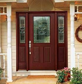Star Half Lite door system – Factory-finished in Mahogany with stained jambs