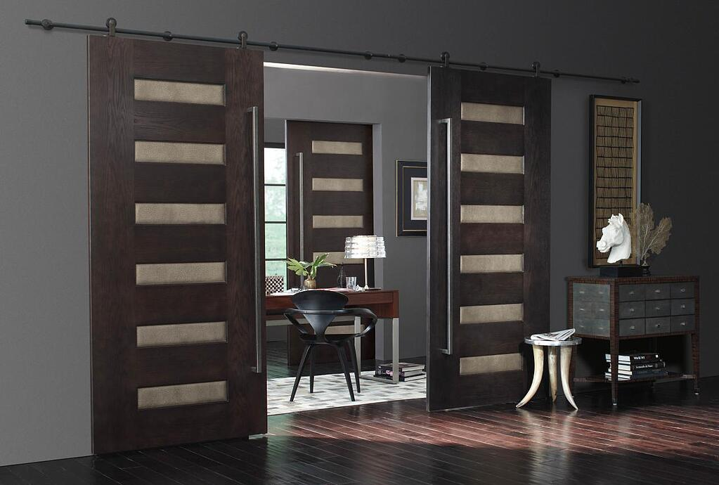 Trustile Stacked Rail door with Leather inserts.jpg