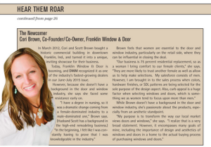 Cori Brown, Franklin Window and Door co-owner, being feature in DWM Magazine.