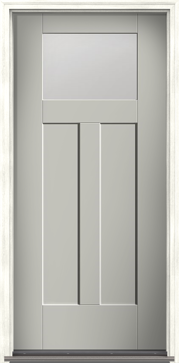 Therma Tru Smooth Star Flushed Glazed Shaker style single entry door